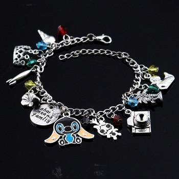 Cartoon Charm Bracelet Cute Ohana Friendship Lilo Stitch Theme Bangle&Bracelet Kawaii Family Wristlet Women Girls Jewelry 2019
