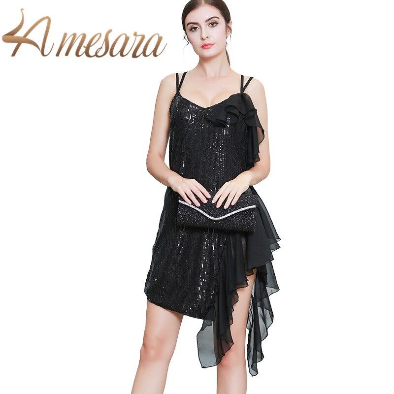 LA MESARA robe de soirée bretelles Spaghetti col en V Sequin volants robes dame élégant mignon vêtements 319039