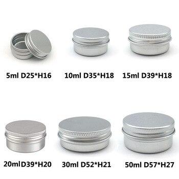 10PCS Cream Jar Tin Cosmetic Lip Balm Containers Nail Derocation Crafts Pot Refillable Bottle Screw Thread Empty Aluminum 1