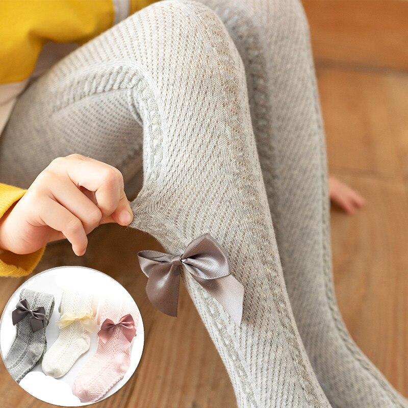 Śliczne różowe Bowknot rajstopy dla dziewczynek lato miękka bawełna oddychająca siatka dziewczynek rajstopy maluch pończochy odzież dla niemowląt podkolanowki dla dziewczynki pończochy samonośne rajstopy niemowlęce