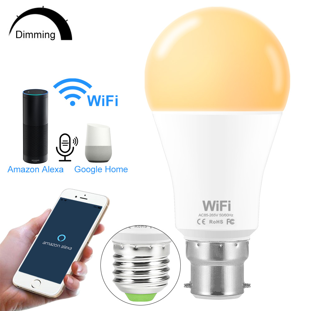 110V WiFi Smart LED Bulb Work With Google Home Amazon Alexa Control By APP E27 Dimmable Timing Smart LED Bulb Intelligent Life
