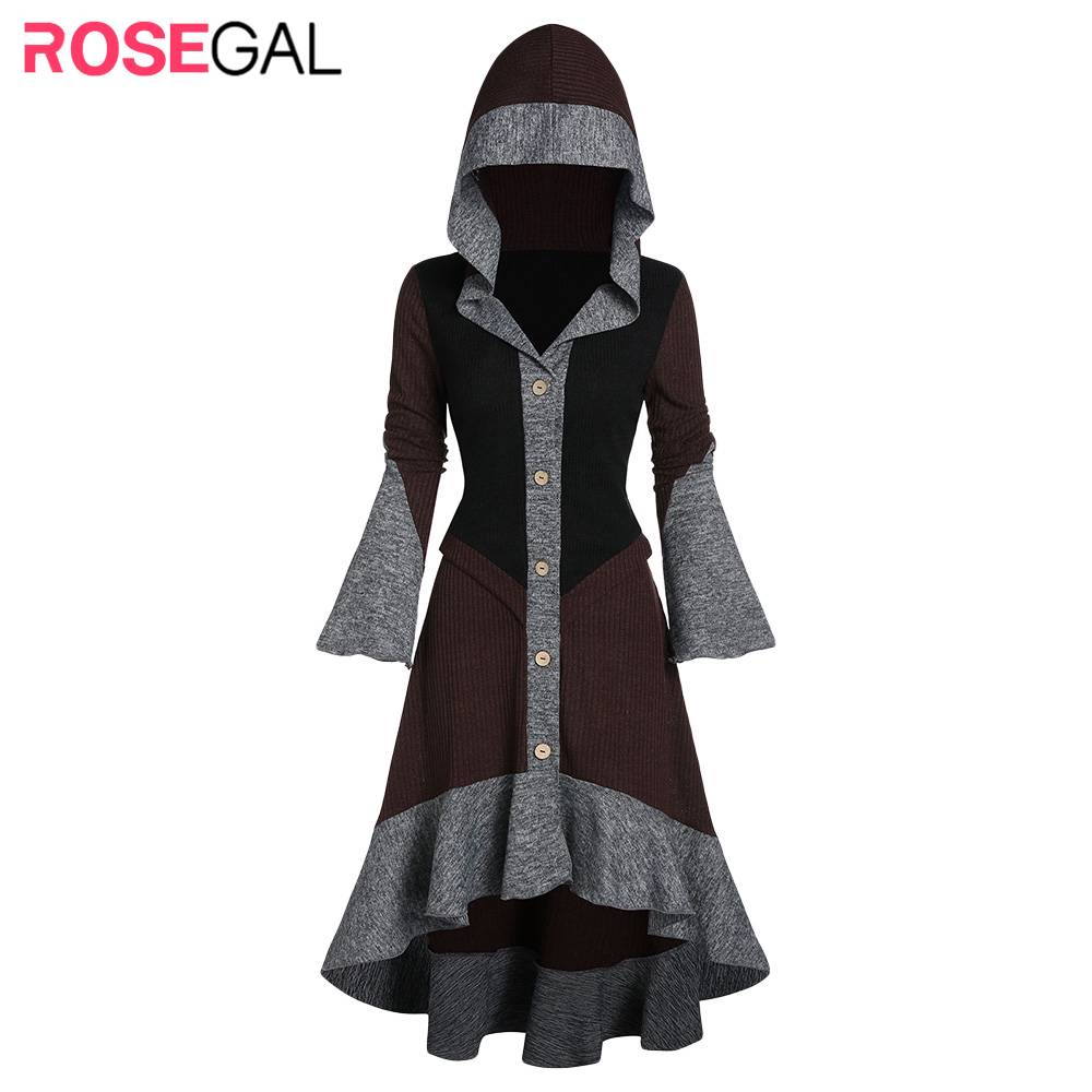 ROSEGAL Autumn Women Hooded Contrast Ribbed Flare Sleeve Button Up High Low Cardigan Flippy Hem A Line Skirted Cardigan Daily