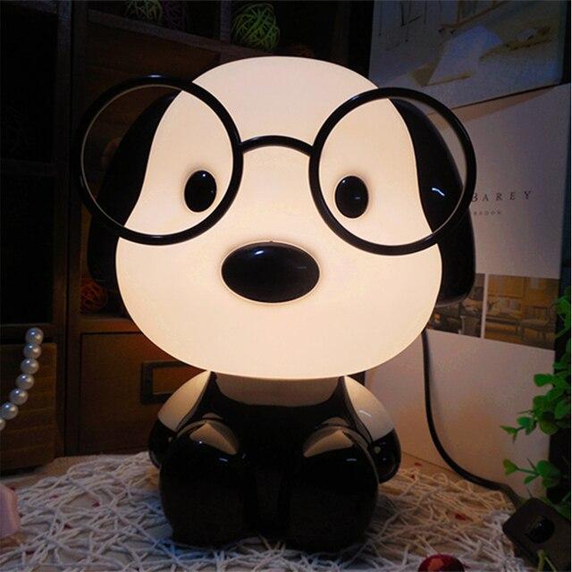 Lámparas de mesa de lectura con enchufe de EE. UU./UE para habitación de bebé, oso Panda, dibujos animados, Animal, decoración nocturna, lámparas para dormitorio, escritorio, regalo para niños
