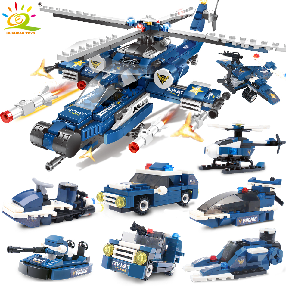 515pcs 8in1 SWAT Police Building Blocks Compatible Legoingly City Helicopter Car 8 Figures Bricks Educational Toys For Children
