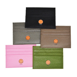 Smile Face Genuine Cow Leather ID Card Holder Candy Color Bank Credit Card Gift Box Multi Slot Slim Card Wallet