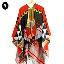 Ranaweela Vrouwen Geometrische Gedrukt Sjaal Met Kwastje Open Voorzijde Poncho Cape Vest Wrap Sjaal Voor Winter Pashmina Ruana Vrouwelijke
