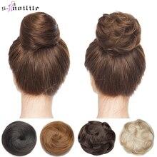 S-noilite 30g Hair Bun Curly Or Straight Chignon 100% Human Hair Donut Hairpiece Brown Blonde Headwear Wrap On Elastic Scrunchie