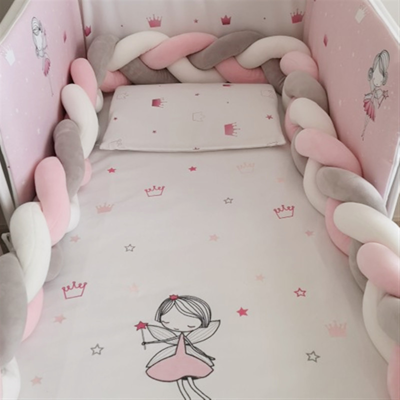 1M/2M Baby Bed Bumper Newborn Braid Pillow Cushion Bumper For Bebe Crib Coil Protector Bumper