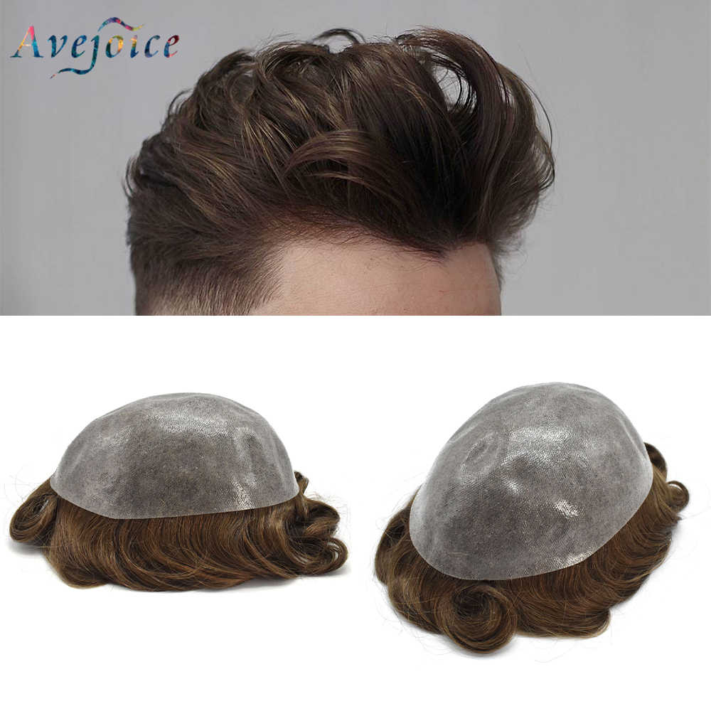 Men Toupee Indian Remy Human Hair Wig Full PU Mens Toupee Hair Replacement System Can be Cut Males Wigs AVEJOICE