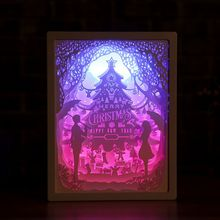 Light 3D Night Lamp Paper Pattern Painting LED Table Desk Colorful