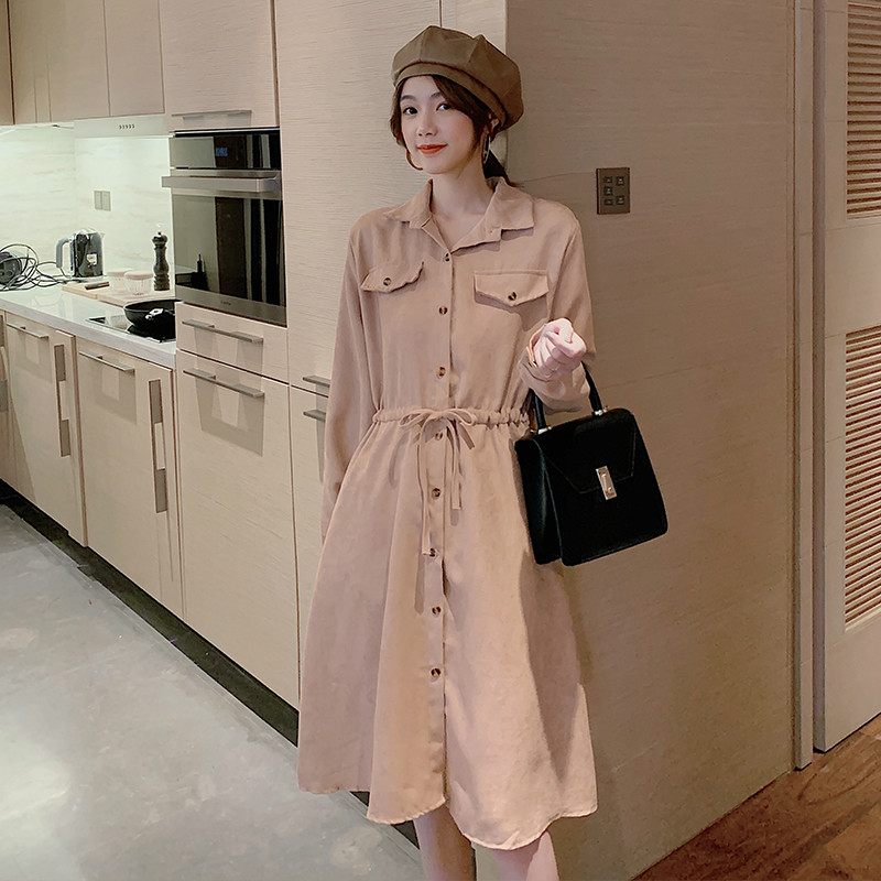 Women Cotton Dress Long Sleeve Solid Slim A-line Woemn Party Dress Fashion Ladies Single Breasted Casual POLO Collar Dress
