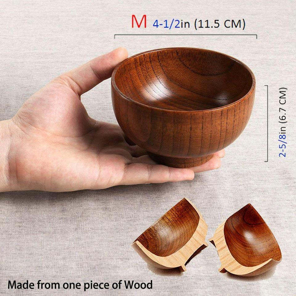 decoraci/ón Juego de 4 cuencos de madera maciza de 11,4 cm de di/ámetro x 6,4 cm para arroz sopa salsa mediana