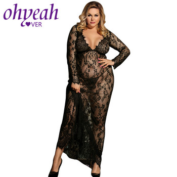 HOTLace Erotic Lingerie Nightgown V Neck See Through Babydoll Dress Long Female Night Gown Sexy Women Nightdress Pregnant sexy v neck sleeveless solid color see through women s babydoll