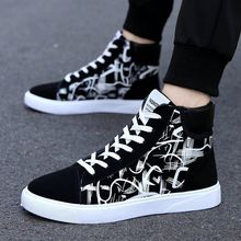 Korean men's casual shoes trend breathable high top canvas shoes middle top board shoes