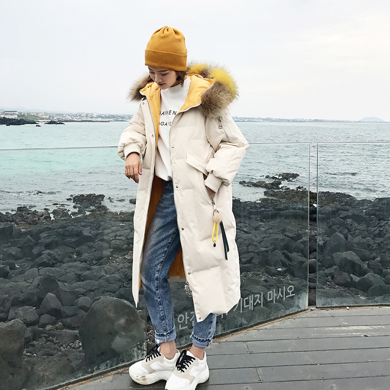 Real Fur 2019 Winter Down Coat Women Puffer LongFemale Warm Autumn Feather Jacket For Girl Parka Coats Duck Outerwear Harajuku