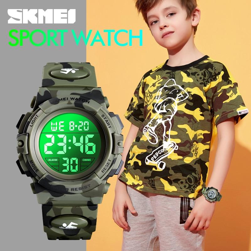 SKMEI Military Kids Sport Watches 50M Waterproof Electronic Wristwatch Stop Clock Children Digital Watch For Boys Girls 5bar