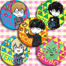 5pcs Anime Psico 100 Mob Mob Partido Cosplay Otaku Halloween Cosplay Emblema Do Botão Pin Emblemas Broche de Presente de Natal(China)