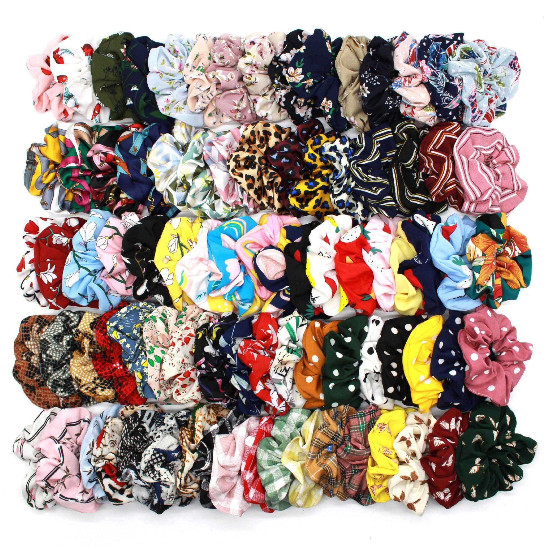 (50 Pieces/lot) Printed Retro Leopard Lattice Hair Rope Chiffon Fabric Elastic Hair Bands Flower Lady Hair Scrunchies