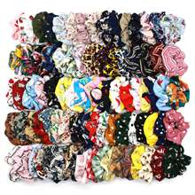 (50 Pieces/lot) Printed Retro Leopard Lattice Hair Rope Chiffon Fabric Elastic Hair Bands Flower Lady Hair Scrunchies