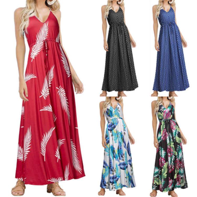 Backlakegirls 2020 sexy maxi vestidos de verão tropical selva folha boho vestido longo sling feminino v pescoço festa noite elegante vestido
