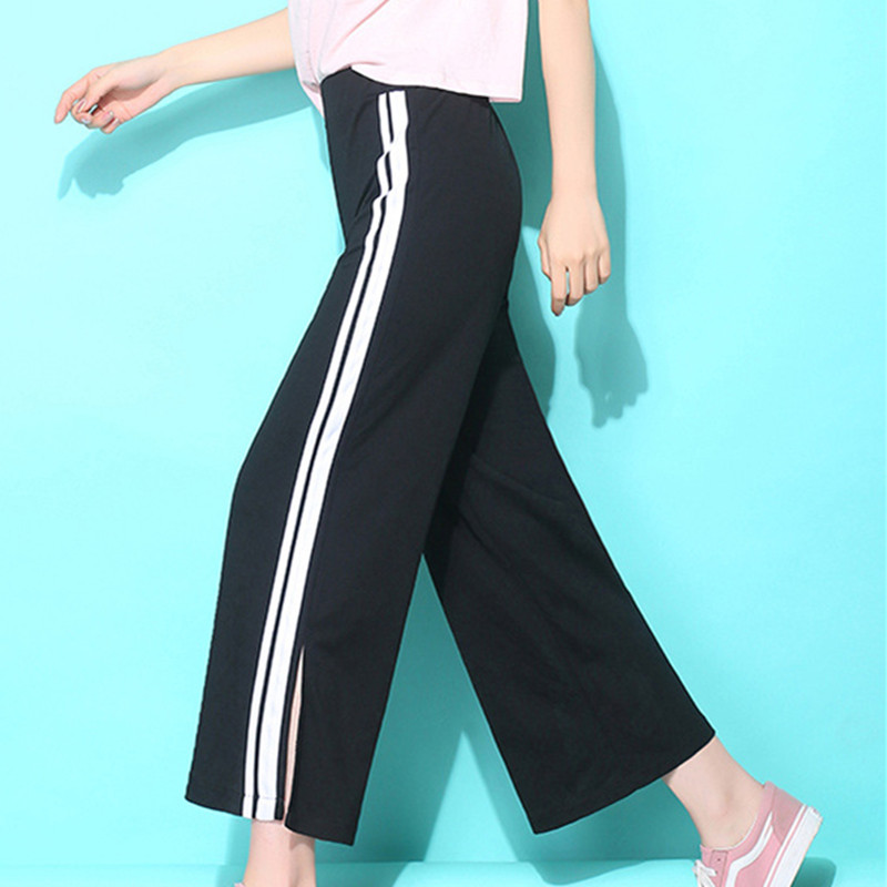Nine points   wide     leg     pants   sports leisure   pants   women version of the trend loose stripes high waist   pants   trousers women