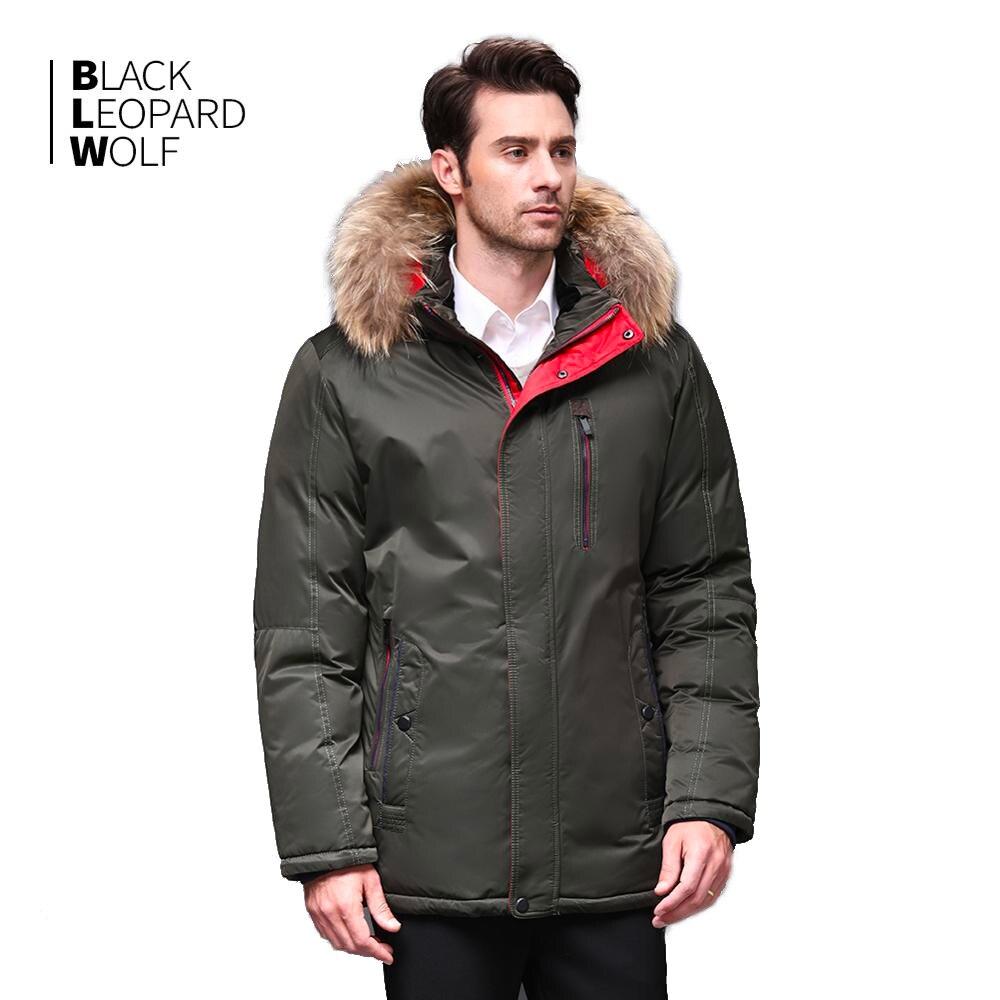 Blackleopardwolf 2019 Man Warm Winter Brand Jacket Luxury Detachable Fur Collar Turtleneck Windproof Comfortable Cuffs Bl-1109m