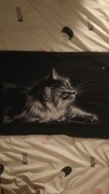 Paquet point de croix animal chat noir   Fil de coton, tissu noir, broderie, 14ct 11ct