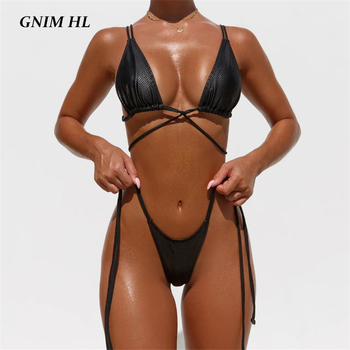 GNIM PU Leather Bikini Swimwear Women 2020 Sexy Bandage Solid Swimsuit Female Two Pieces Triangle Bathing Suit Beachwear Biquini