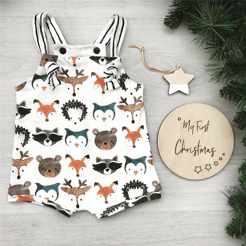 Newborn Baby Boys Girls Cartoon Cotton Romper Bodysuit Clothes Outfit Sets Animals Summer Strappy  Sunsuit