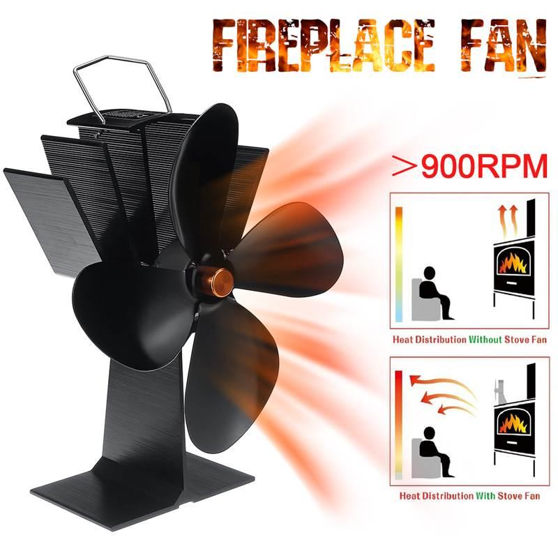 Black Fireplace 4 Blade Heat Powered Stove Fan Burner Eco Friendly Quiet Fan Home Fireplace Fan Efficient Heat Distribution