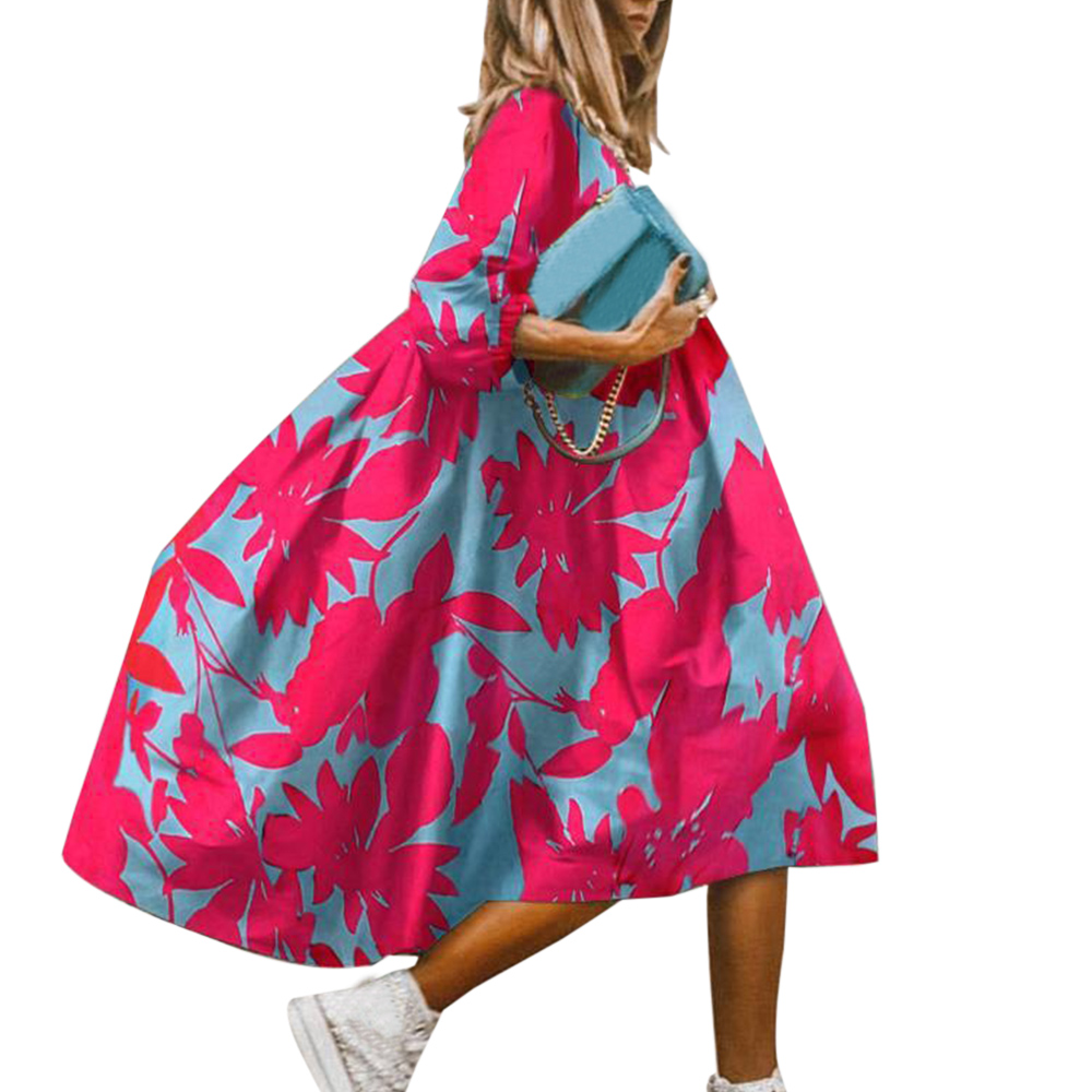 Summer Floral Leopard Print Half Sleeve Dress Women Casual O Neck Loose A-Line Dress Retro Elegant Female Party Dress Vestidos