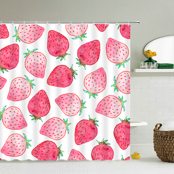 3D Waterproof Fabric Shower Curtains Strawberry Watermelon Pineapple Fresh Printing Bath Curtain large 240X180 Bathroom Screen image