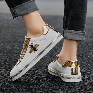 Image 3 - New Fashion Bee Embroidery Golden Mens Shoes Casual Outdoor Low Flats Men Casual Shoes Couple Glitter Sneakers zapatos de hombre