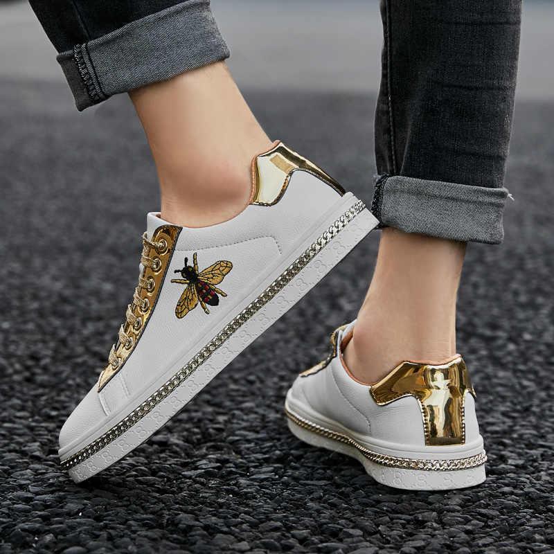 Thời Trang Mới Thêu Ong Vàng Nam Đơn Giản Thoải Ngoài Trời Thấp Bãi Nam Đôi Đế Lấp Lánh Giày Zapatos De Hombre