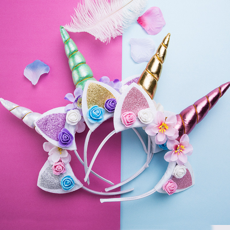 2019 New Cute Kids Sweet Flowers Unicorn Headband Children Birthday Party Flower Tiara Crown Hair Accessories Unicorn Headband