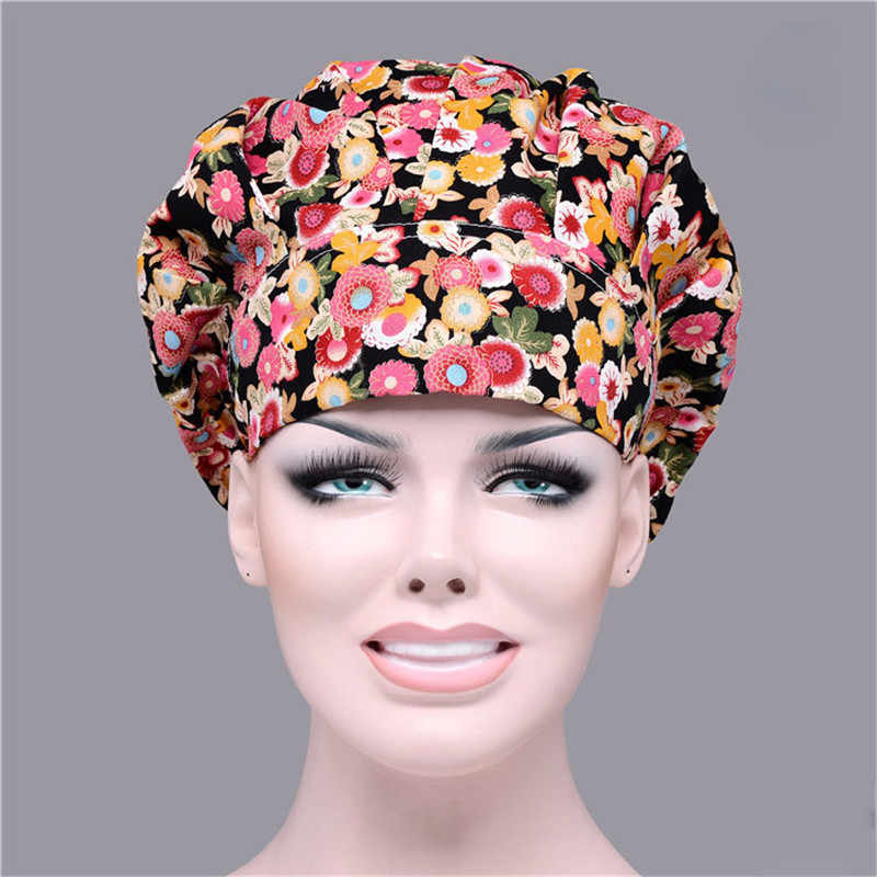 7 Colors Chef Hat Bouffant Scrub Cap Cook Work Print Cotton One Size Adjustable Elastic Cooking Uniform Hats Cheap NEW