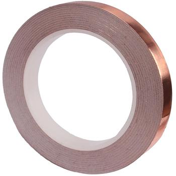 1 Roll 6MM X 20M Single Conductive Copper Foil Tape Strip Adhesive High Temperature Tape 25mm 20m single side adhesive silver conductive fabric cloth tape for pc phone lcd cable emi shielding keyboard repair