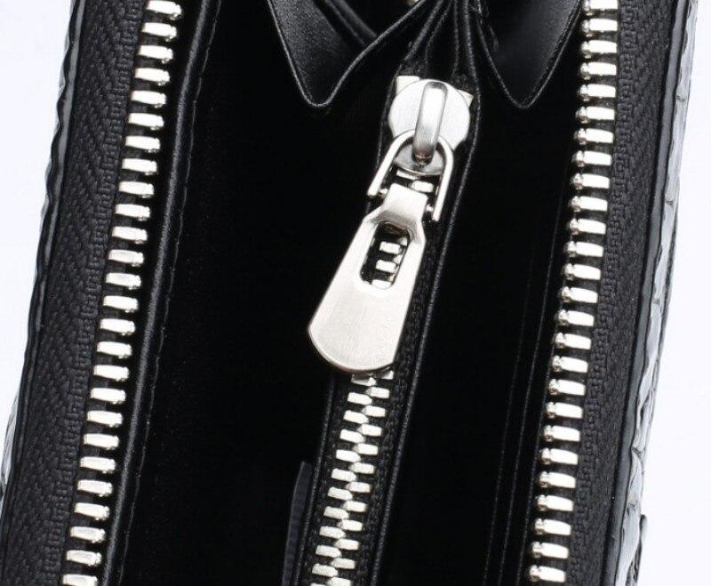 genuíno longo zíper bolsa embreagem masculino preto
