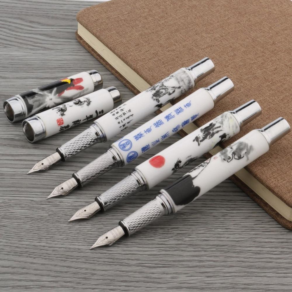 1PC Fashion Color M Nib Ceramics Blue And White Fountain Pen