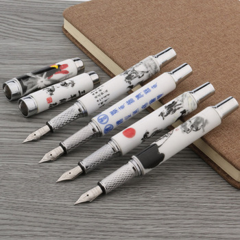 1PC fashion color M Nib ceramics Blue and white Fountain Pen