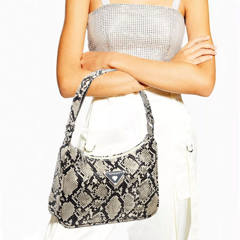 Retro Tote Bags For Women Nylon Vintage Handbag Mini Leather  Shoulder Bag Serpentine  Women Bag Stone Pattern Purse Bella