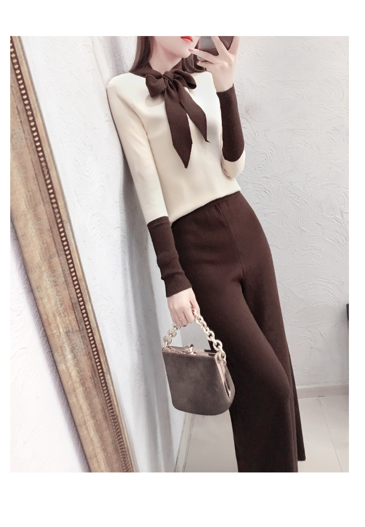2019 Autumn Winter Knitted 2 Piece Sets Outfits Women Lace-up Sweater Pullover And Wide Leg Pants Suits Elegant Korean Sets 23