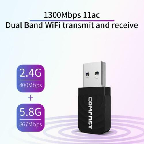 Wireless Network Card COMFAST CF-812AC Mini USB 3.0 Wireless Network Card 1300Mbps Ethernet WiFi Dongle Adapter Receiver 802.11 B/g/n 5.8/2.4GHz Dual Band R60