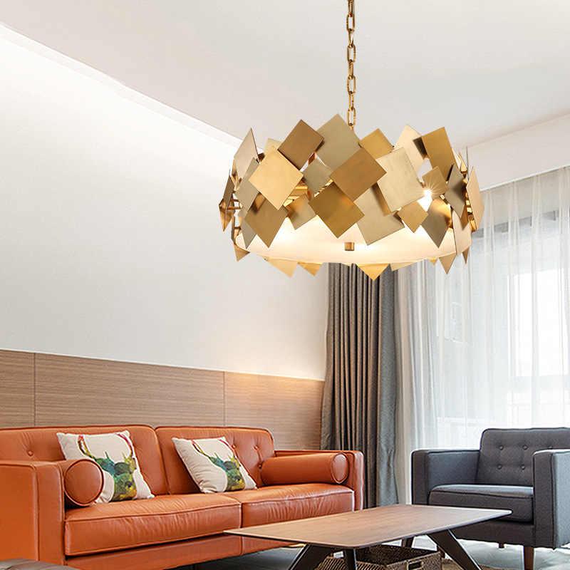 Скандинавский современный Lustre Luminarie Led E14 подвесной светильник поворотный Стальной Подвесной цепь лампы Золотой покер светодиодный подвесной светильник