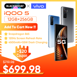 Original vivo iQOO 5 12GB 256GB Snapdragon 865 5G Mobile Phone Celular 55w 120Hz Refresh Rate UFS 3.1 LPDDR5 Android Cellphone
