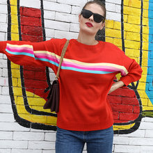 Women Sweater Colorful Rainbow Stripes Print Ribbed Dropped Shoulders Long Sleeve Loose Casual Pullover(China)