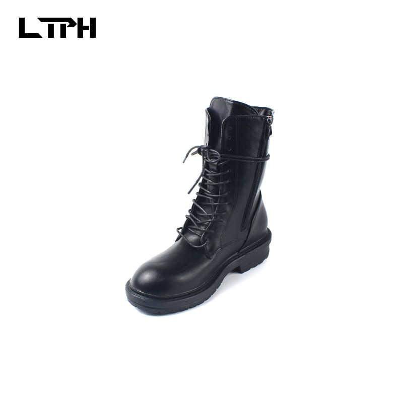 Freeshipping 2019 ฤดูใบไม้ผลิและฤดูใบไม้ร่วง Retro Street สไตล์อังกฤษรอบหัว Martin หัวรถจักร Lace Up รองเท้ารองเท้าผู้หญิงผู้หญิงสีดำ