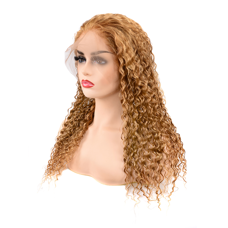 Brazilian Deep Wave Lace Front Wig Blonde Human Hair Wig13x4 Lace Frontal #27 Preplucked Lace Wig