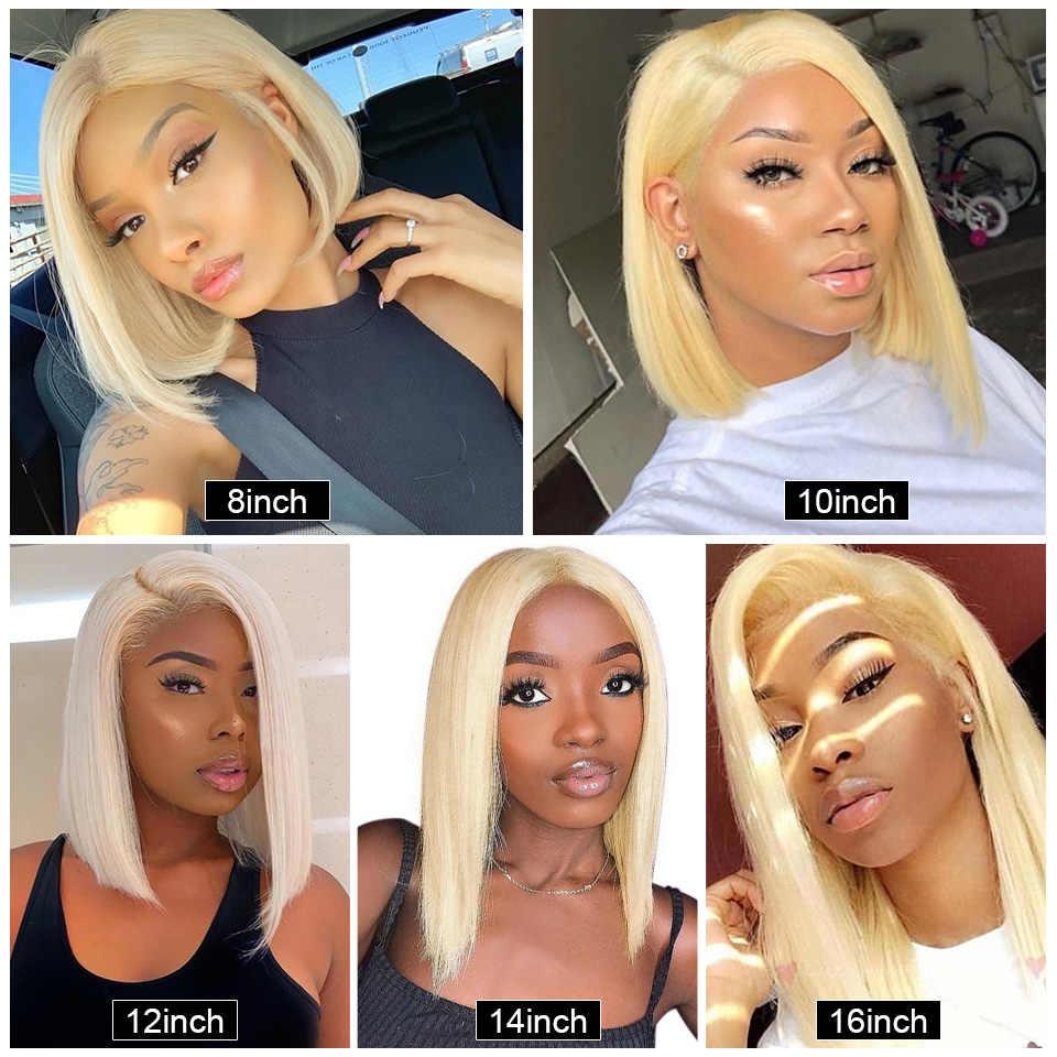 613 blond peruki z krótkim bobem Remy brazylijski koronkowa peruka z prostymi włosami proste włosy ludzkie Bob peruki koronki przodu włosów ludzkich peruka dla kobiet
