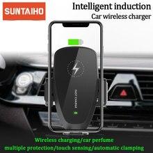 Cargador inalámbrico de coche Suntaiho automático por gravedad de 10W para IPhone 11, Cargador rápido, soporte de coche inalámbrico para Samsung S10